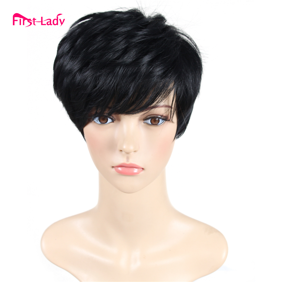 Short Black Wig Heat Resistant Synthetic Wigs For Black Women Hair Pixie Cut Wig Perruque Synthetic Women African American<br><br>Aliexpress
