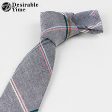 Desirable Time Fashion Gray and Pink Plaid Tie Men 2018 New Arrival Designer Mens Skinny Cotton Ties for Wedding Business A04(China)