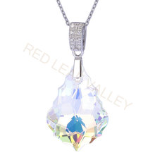 Import Austrian Crystal Maple Leaf Necklace Yellow Light Crystal Pendant Jewelry for Women(China)