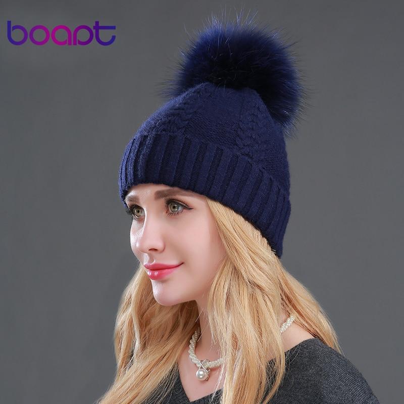 BOAPT Genuine Wool Rabbit Real Natural Raccoon Fur Winter Warm Velvet Hats Women Casual Elasticity Caps Female Skullies BeaniesОдежда и ак�е��уары<br><br><br>Aliexpress