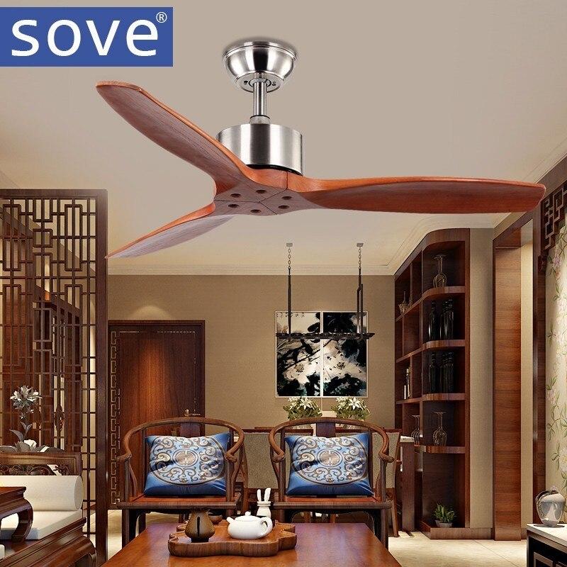 sove 42 zoll vintage holzdecke fans ohne licht schlafzimmer hause lfter 220 v deckenventilator holz fernbedienung - Einziehbarer Deckenventilator