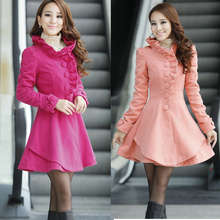 Hot sale High quality 2017 winter women add thick wool coat single breasted patchwork ruffle design long coat