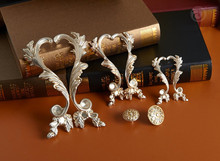 Pairs Dresser Pulls Phoenix Antique Silver Drawer Pulls Handles Rustic Kitchen Cabinet Hardware Handle Pull Knobs(China)