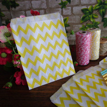 Icraft 5x7 Inch 25 pcs Yellow Chevron Paper Bags Food Craft Paper Bag Goodie Gift Bags Wedding Party Decoration(China)