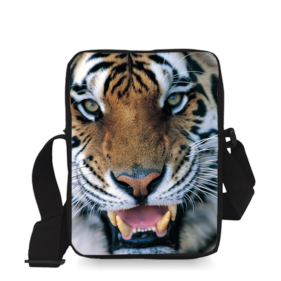 9 inch Cool Kids Messenger Bag Children Small Cross Body Bag Boys Sling Bag Tige Animal Printing for Kindergarten(China)