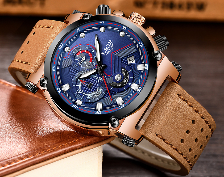 Reloje 18 LIGE Men Watch Male Leather Automatic date Quartz Watches Mens Luxury Brand Waterproof Sport Clock Relogio Masculino 14