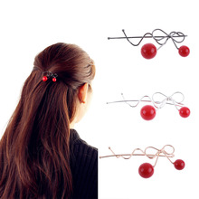 Sweet Women Girls Korea Korean Red Cherry Shaped Bow Bangs Hairpin Twist Hair Clip Headdress Hair Accessories Head Ornaments
