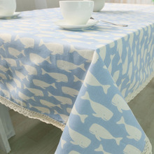 Best Sale Premium Quality Fish Printed Linen Tablecloth Children Dining Cotton Table Cloth with Lace Edge for Home Party Decors(China)