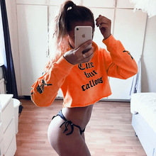 Women Oversized Hoodies Jumper Sweatshirt Female Tumblr Orange Cropped Top 2017 Winter Harajuku Letter Printed Loose Pullover(China)