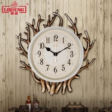 Tuda Free Shipping American Country Style Wall Clock Coral Shaped Resin Wall CLock Mute Quartz Clock For Bedroom Syudy Room(China)