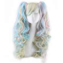 Multicolors Long Curly Cosplay Wig Japanese Kanekalon Synthetic Hair Clip on Ponytails Lolita Wigs Costume Pink Peruca Pelucas