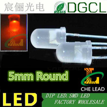 Free shipping Red 5mm diffused LED(Milky white)1.8-2.2V 15-20mA Round DIP LED(CE&Rosh)(China)