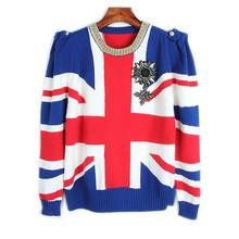 Runway Designer Pullover 2017 Winter Sweater Women British Flag Jacquard Jersey Casual Badge Knit Jumper Tops Jumper Women(China)
