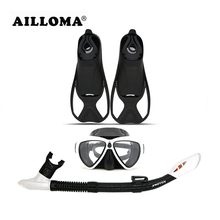AILLOMA Diving Mask Snorkel Fins Set Adult Full Dry Tube Flipper Scuba Anti-Fog Swimming Goggles Breathing Equipment sets(China)
