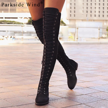 Parkside Wind Winter Women's Boots Shoes Sexy Fashion Flock Over Knee Boots Women Med Square Heel Rubber Boots Size 36-41 1354-5(China)