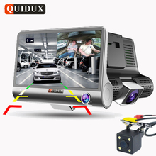 QUIDUX 3 Way Camera Car DVR FHD 1080P Video Camera Dual Lens with Rear view Registrar 4.0 inch Dash Cam Night vision Camcorder