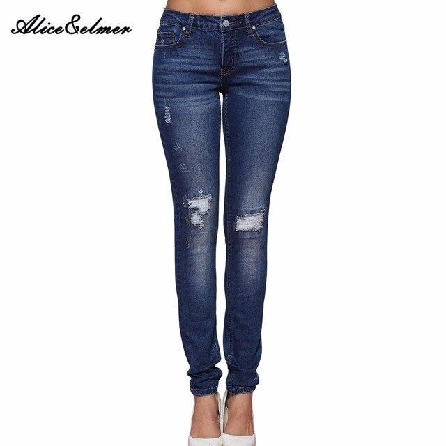 Alice & Элмер рваные джинсы женские джинсы для девочек стрейч средней талией обтягивающие джинсы женские брюки