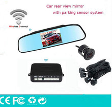Car Wireless reverse camera& video parking sensor with 4.3inch rear view monitor Assistance,Auto backup rearview parking system
