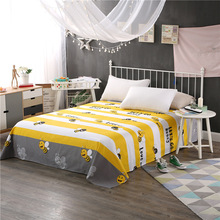 Cartoon little bee 100% cotton printing Bedding Flat Sheet Bed Linens Bedsheets Home Textile Twin Full Queen size bed sheet(China)