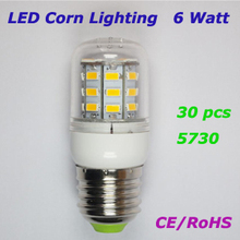 6W E27 LED Corn Bulb Lamp Spot Lighting SMD 5730 30pcs 360 Degree AC 110~240V For Home using(China)
