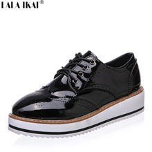 2017 Spring Women Brogues Creepers Platform Shoes Women Oxfords Patent Leather Women Shoes Oxford Shoes for Women XWK0052-5(China)