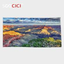 Custom Microfiber Ultra Soft Bath/hand Towel,House Decor Panoramic View at Grand Canyon with Morning and Fluffy Clouds in Air