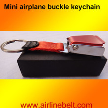 Gift box packing mini airplane airline seat belt buckle keychain keyring Colorful aircraft buckle key ring free shipping present(China)