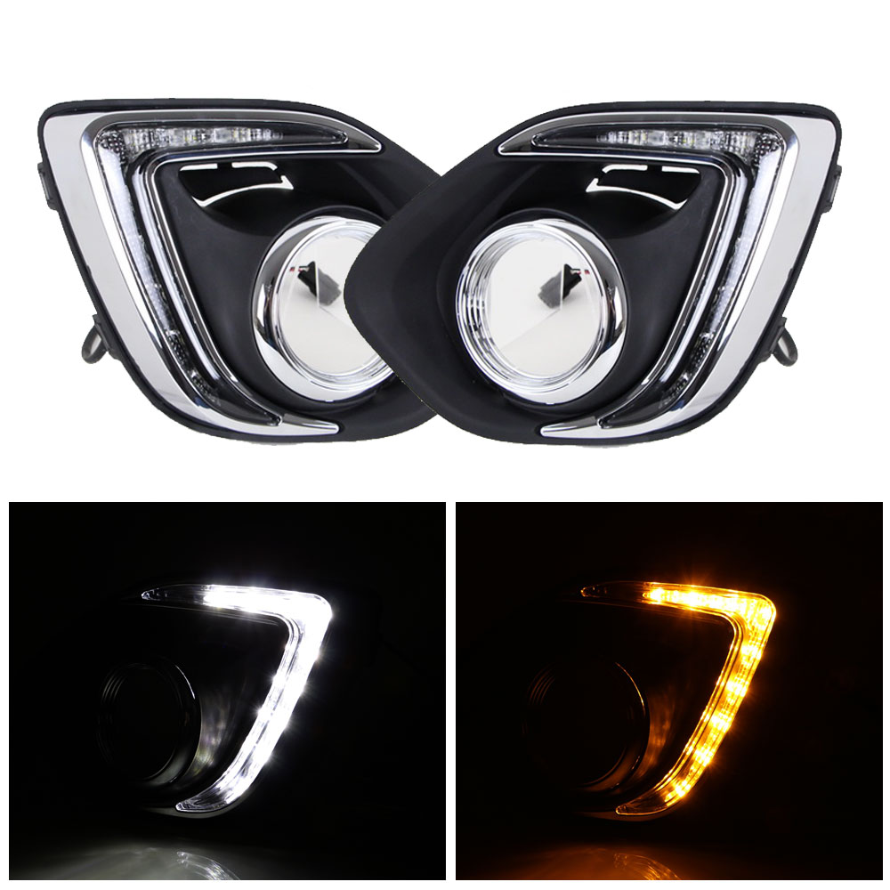 Daytime Running Light DRL for Mitsubishi ASX 2013 2014 Left Right side White DRL / Yellow Turning Signal Light<br>