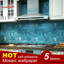 5Meter PVC Wall Sticker Bathroom Waterproof Self adhesive Wallpaper Kitchen Mosaic Tile Stickers For Walls Decal Home Decoration(China)