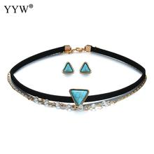 YYW Mutli layer 2 Rows Turquoises Stone Jewelry PU Leather Cord Gold Color Plated Chain Crystal Triangle Choker Necklaces woman
