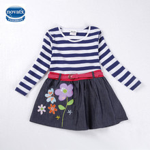 novatx H4688 2-6Y hot selling baby dresses long sleeve nova baby garments high quality girl dresses child tutu dresses with lace