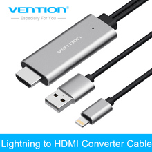 Vention USB to HDMI Converter Cable HDMI Cable for iPhone 8 7Plus iPad USB to HDMI Adapter Cable 1080P for Samsung Android(China)