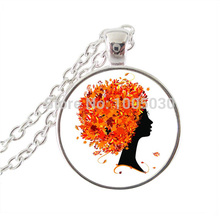 Tree of life jewelry orange hair tree photo pendant silver chain long necklace glass neckless women men gifts vintage jewellery