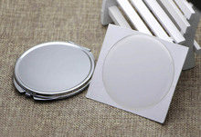 72mm Compact Mirror DIY Kits Silver Metal Blank Pocket Foldable Mirror + Epoxy Sticker 40 pieces/lot(China)