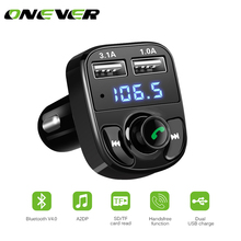 FM Transmitter Bluetooth Car Kit MP3 Player LED Dual USB 4.1A Car Charger Voltage Display Micro SD TF Music Playing(China)