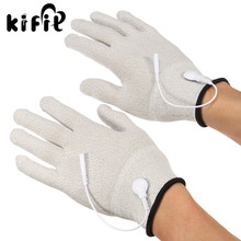 KIFIT 1 Pair Massage Relaxation Conductive Electrotherapy Massage Electrode Gloves Shock Wire Machine Therapy Hand Massager Tool