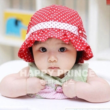 2017 Kids Toddlers Baby Girls Sun Hat Polka Dot Flower Bucket Cap Bowknot Pearl Hat
