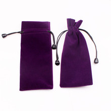 High Quality 7.5x18cm Drawstring Purple Velvet Bags Pouches Jewelry Bags Christmas Valentines Gifts Bags Cosmetics Bags 100pcs