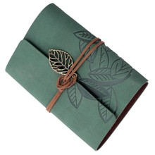 Perfect-Notebook memo pad diary book Leather PU Mobile sheets Cordon Vintage 90 Pages green(China)