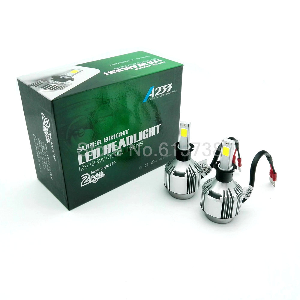 1 pair 33w 3000lm H3 headlight COB LED Car lamps Kit led Auto Front Light H3 Fog Bulb Automotive Headlamp h1  h7 h9 h8 h10 h11<br><br>Aliexpress