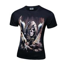 2017 New Rushed Short Casual Cotton 3d Printed T-shirts Men Korean Cultivating Europe Printing Demon Skull T-shirt Double Knife