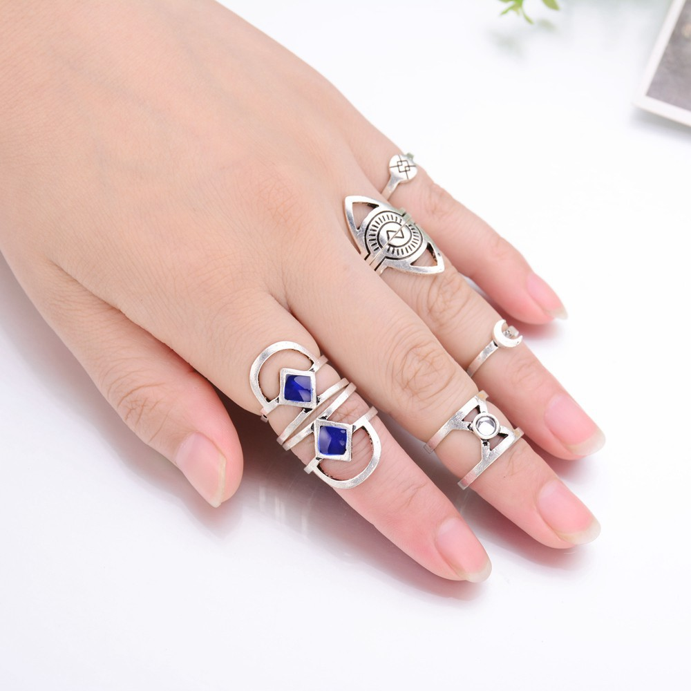 New Vintage Punk Ring Set Simple Vogue Silver Plated Simulated Pearl ...