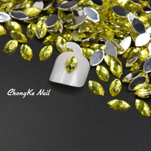 2017 Top Quality Olivine Color Acrylic Rhinestone Horse Eye Stones 5X10MM 3D Design DIY Nail Art Decorations(China)