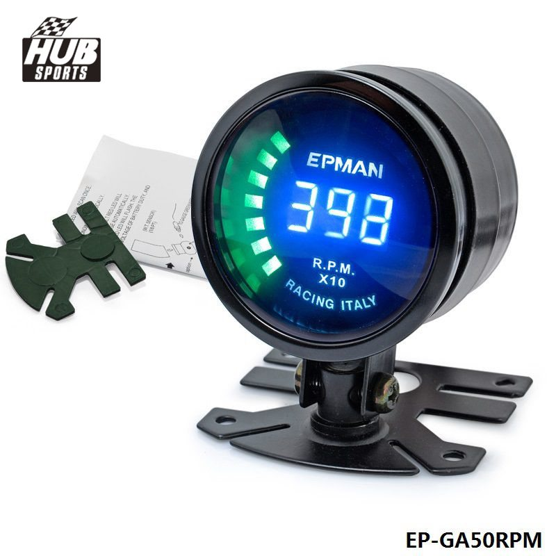 Hubsports - 2015 New EPman racing 52mm Smoked LED RPM Tacho Tachometer Gauge Meter with bracket For Toyota verso 2011 HU-GA50RPM