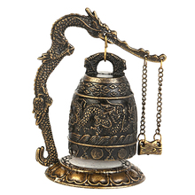 Zinc Alloy Vintage Style Bronze Lock Dragon Carved Buddhist Bell Chinese Geomantic Artware Exquisite Home Decor Classic KT1036