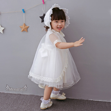 Baby Girl Clothes Baptism Christening Easter Gown Dress Lace Satin Embroidery Shwal Toddler Baby Girl Party Dresses 3pcs/Set