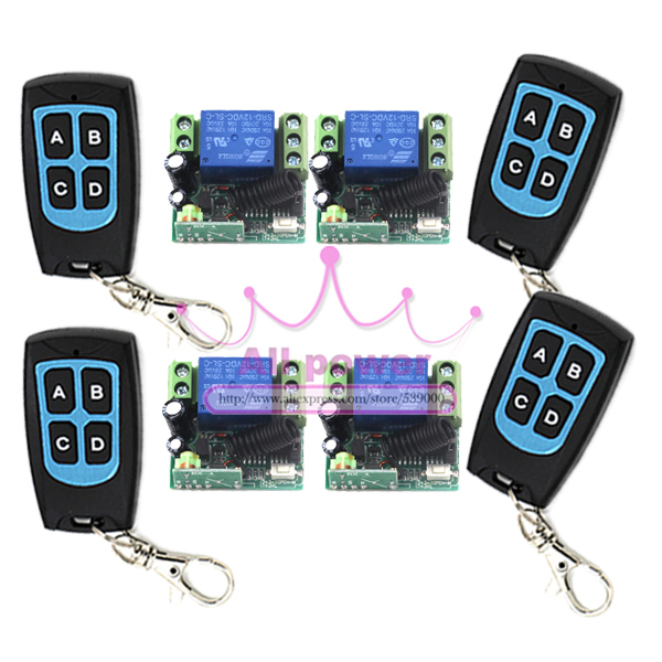 12v 1CH relay wireless RF Remote Control Switch Lighting 4 Transmitter + 4 Receiver<br>