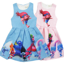 2017 children dress trolls girls dresses for 3 - 10Y magical summer high class european girls dress baby boutique clothing whole