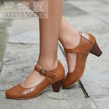 2017 spring autumn new Genuine leather retro Women shoes Big size Crude heel shoes round head Carved high heels pumps boty obuv