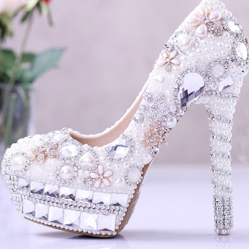 Pearl Wedding Dress Shoes Rhinestone Bridal Shoes high heel Platform Pumps White Lady Woman Party Prom Shoes<br><br>Aliexpress